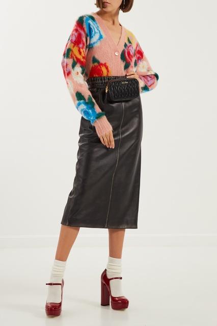 04f8511dbd9 Кожаная юбка миди Miu Miu – купить в интернет-магазине в Москве
