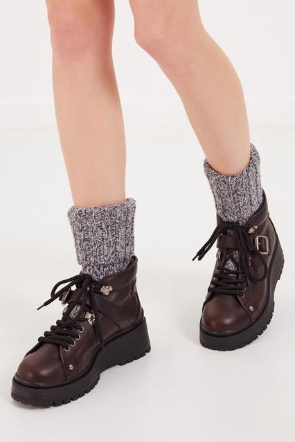 ... Кожаные ботинки с вязаными отворотами Miu Miu - Miu Miu, Обувь, Обувь Miu  Miu ... b0d896ccf9a