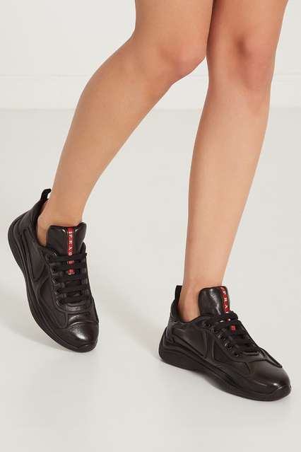 476eab1d ... Черные кожаные кроссовки с логотипами Prada - Prada, Женское, Женское  Prada, вид 3 ...
