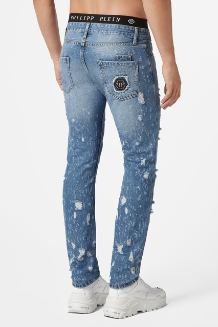 b2e2d3490c6 ... Голубые джинсы с комбинированной отделкой Philipp Plein - Philipp Plein
