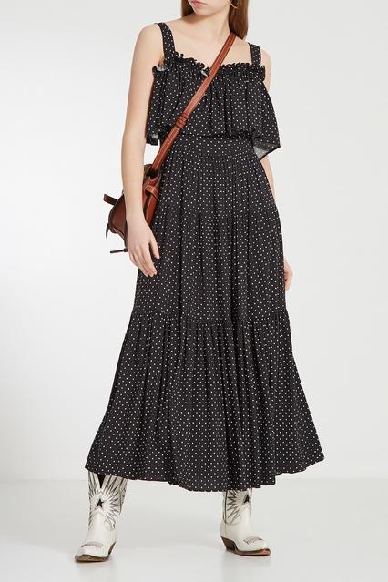 7dd95e4dada Черное платье в горошек ЛИ-ЛУ – купить в интернет-магазине в Москве
