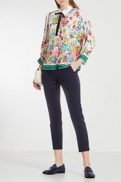 54dc3b7e11d ... Шелковая блуза с принтом и лентой Claudie Pierlot - Claudie Pierlot