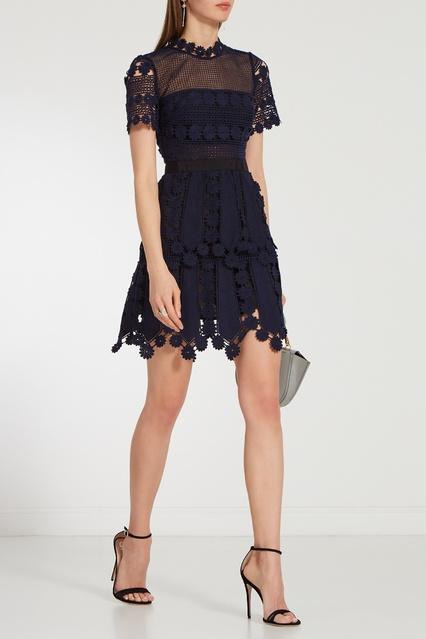 1a1ea0adad8 Синее кружевное платье мини Self-Portrait – купить в интернет ...