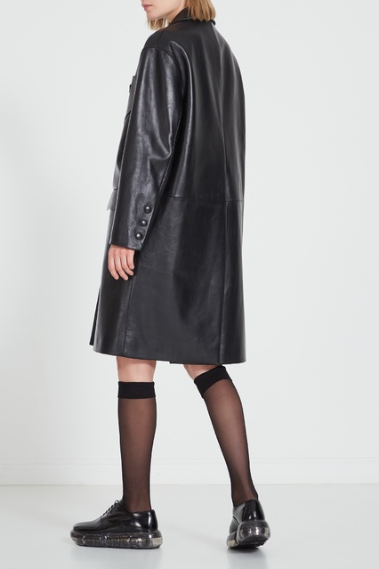 4f1b536a939 Черное кожаное пальто Prada – купить в интернет-магазине в Москве