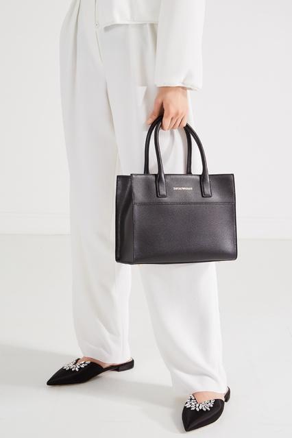 fe198633e103 ... Черная кожаная сумка с логотипом Emporio Armani - Emporio Armani,  Женское, Женское Emporio Armani ...