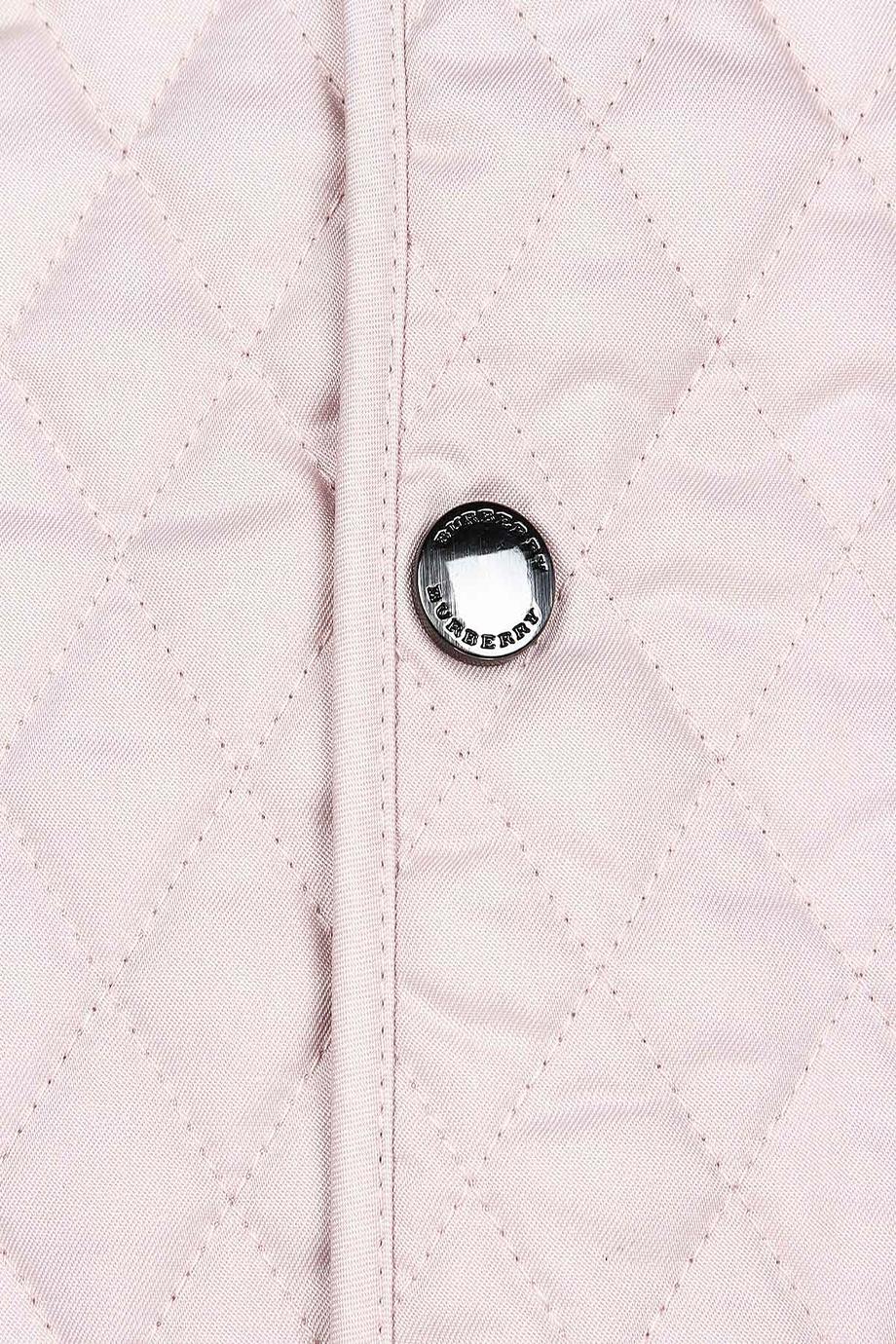Розовая куртка с контрастными манжетами Burberry Kids - Стеганая ... 7aeebcc6094
