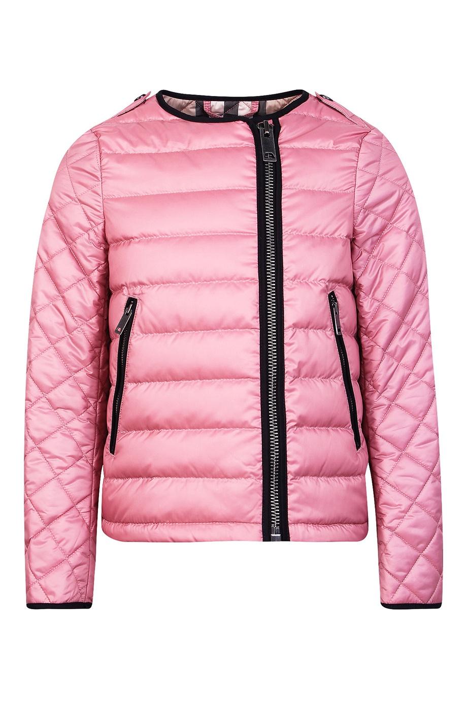 Розовая куртка с контрастной отделкой Burberry Kids - Стеганая ... 7469c18cf18