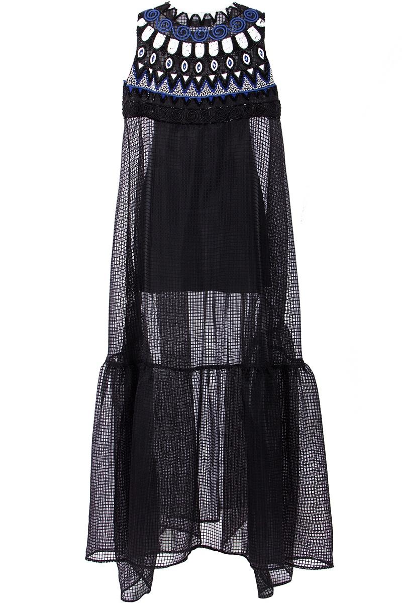Фото 3 - Платье с вышивкой бисером от MSGM черного цвета