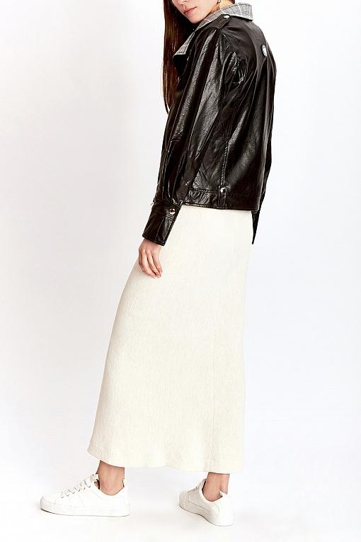 Купить Черная куртка с контрастным воротником, MILA MARSEL, Россия, черный, 100% полиэстер. 100% хлопок