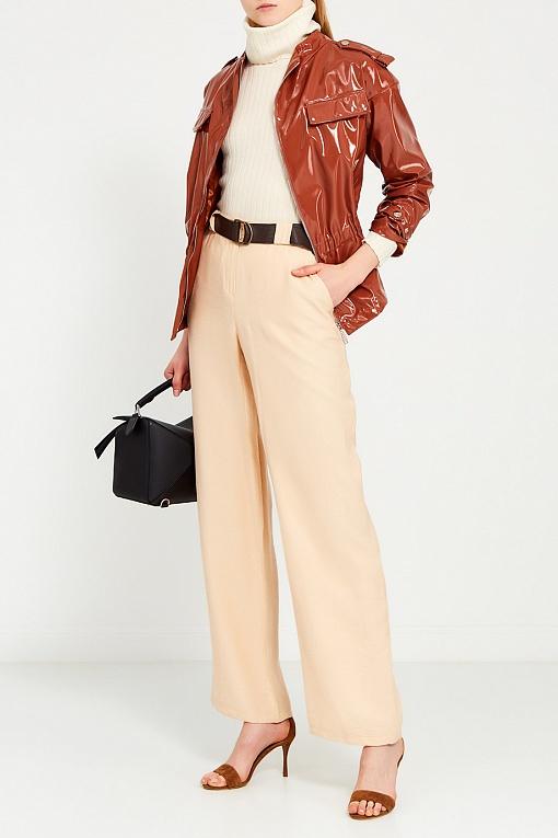 Купить Лакированная коричневая куртка, MILA MARSEL, Россия, бежевый, 100% полиэстер