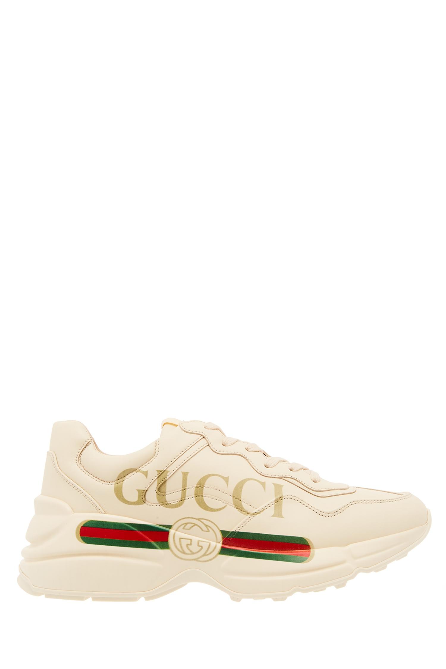 b6173897 Кожаные кроссовки Rhyton с логотипом Gucci – купить в интернет ...