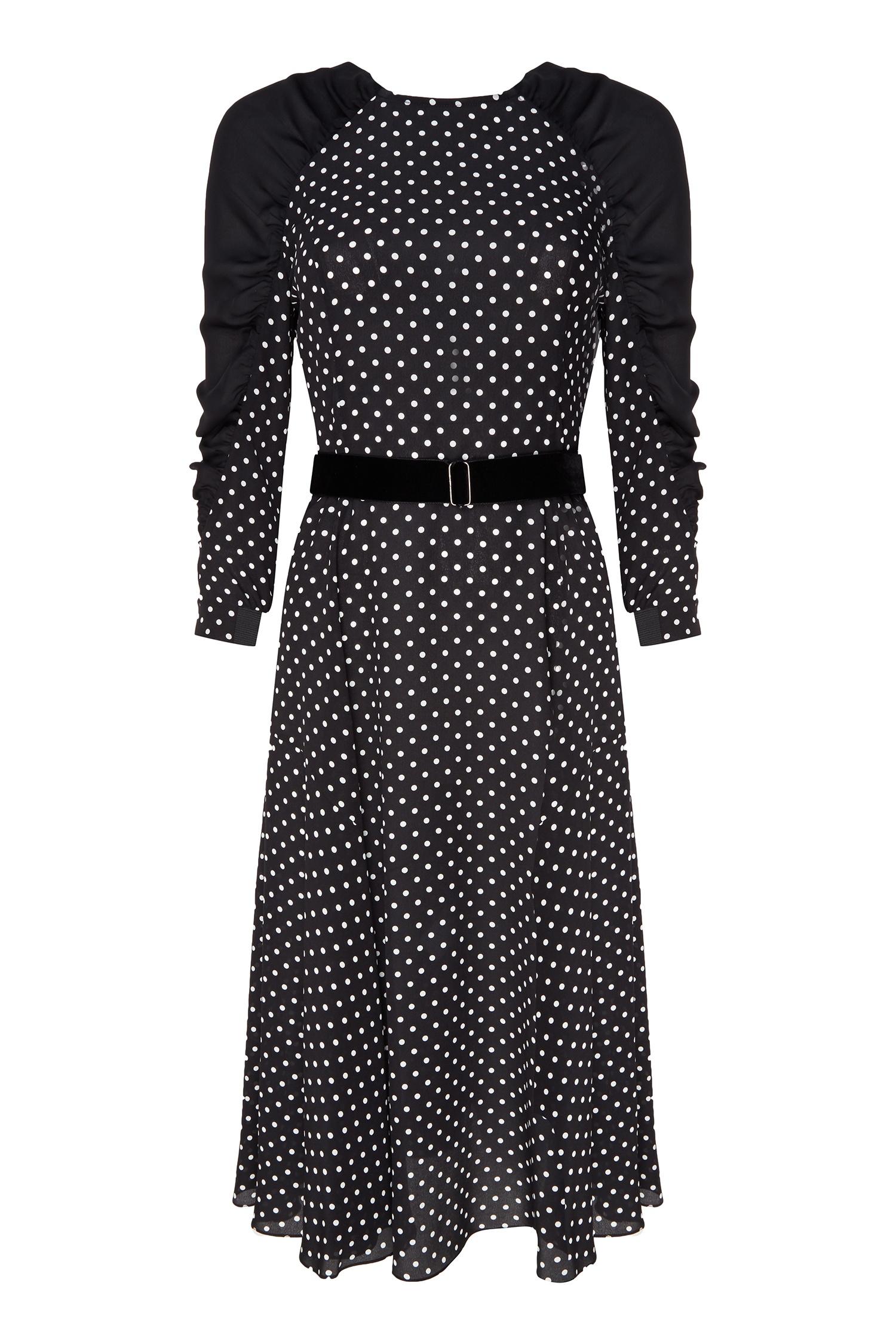 32b9293964d Черное шелковое платье в белый горох The Dress – купить в интернет ...