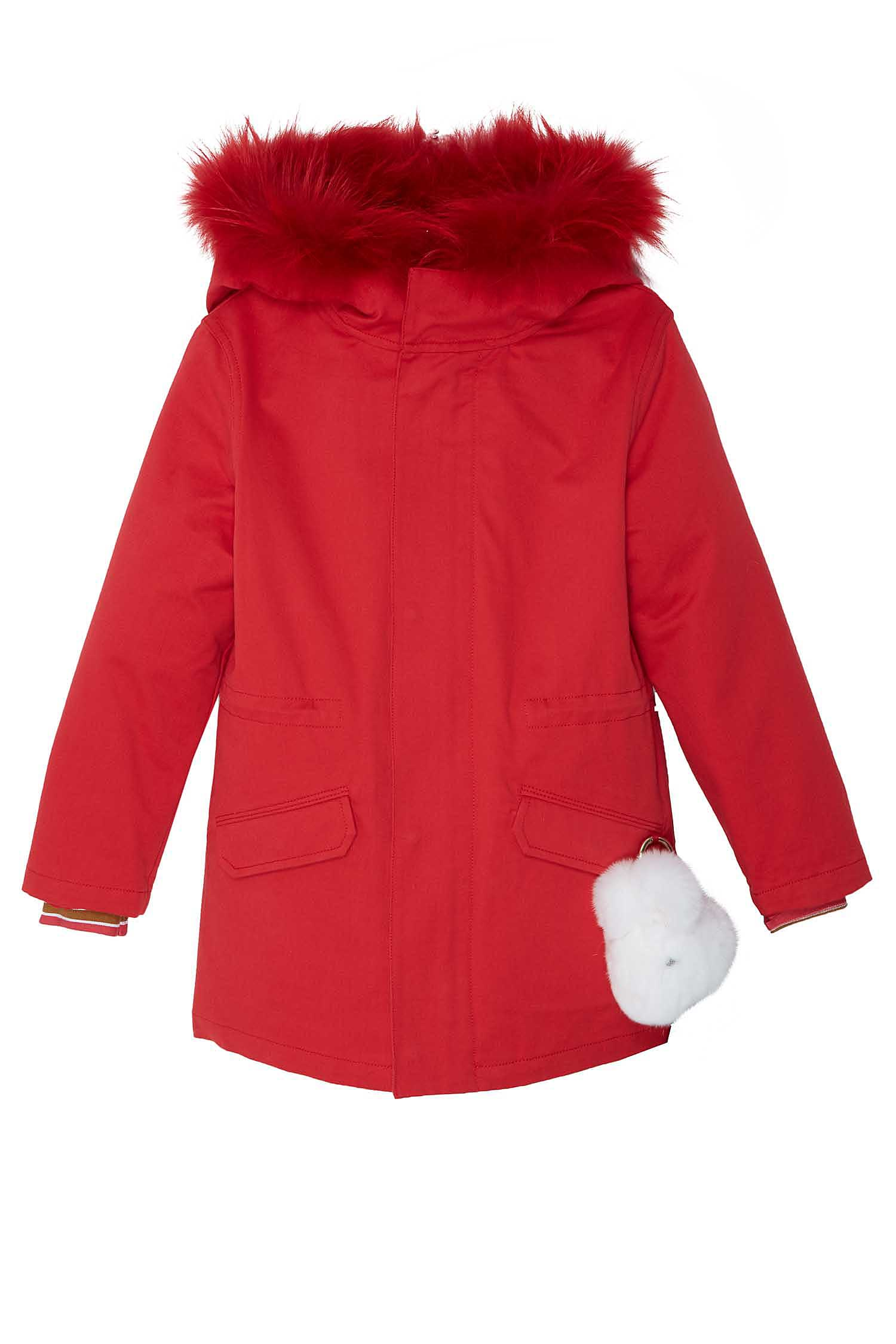 Красная куртка с мехом Yves Salomon Kids - Теплая куртка ярко ... 1136ad8cf08