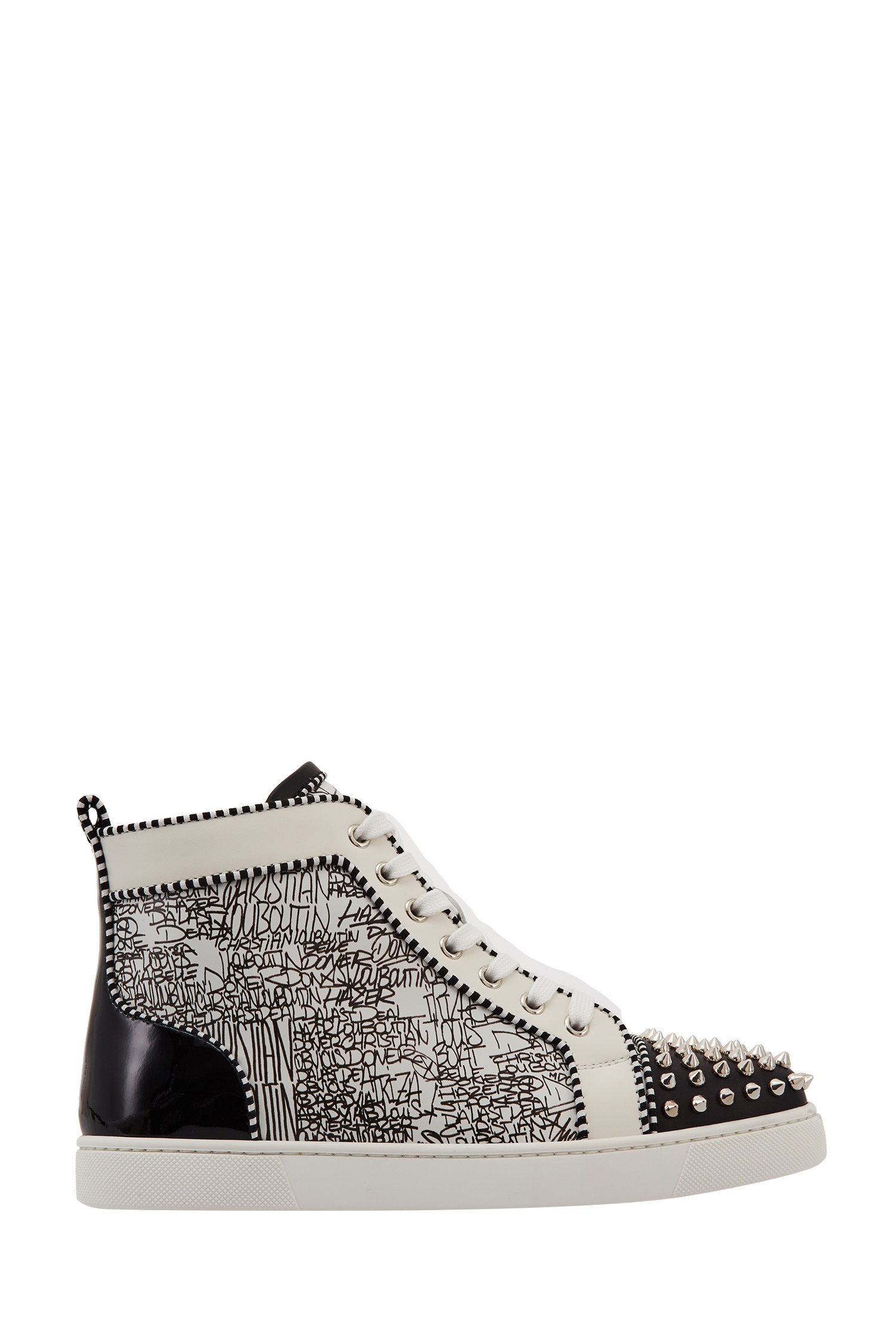 Комбинированные кроссовки Lou Spikes Woman Orlato Calf Caligraf Christian Louboutin (фото)