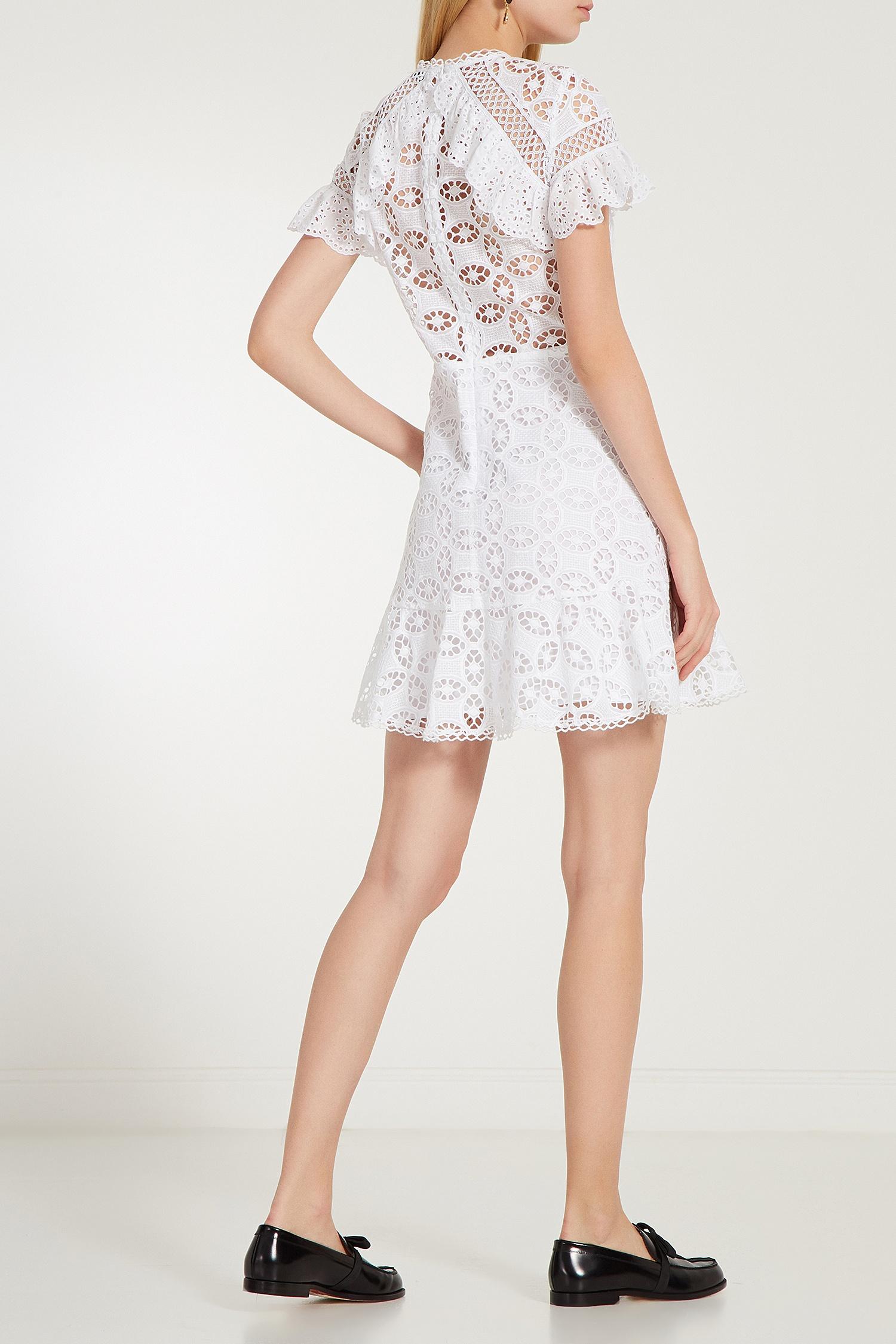 17134802e4b Белое платье мини с шитьем Corentin Sandro – купить в интернет ...