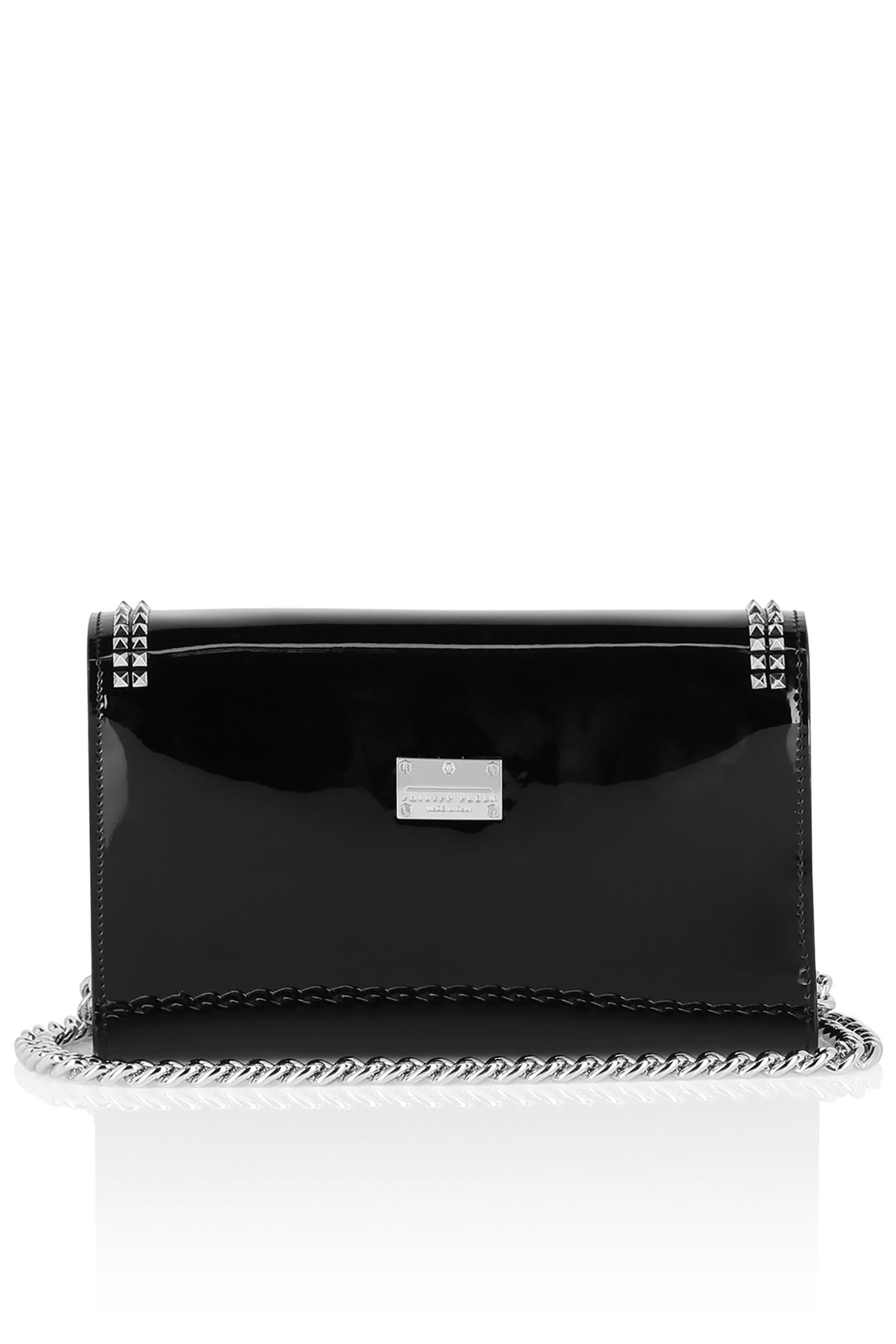 7ffb21415218 Черный лакированный клатч Philipp Plein – купить в интернет-магазине ...