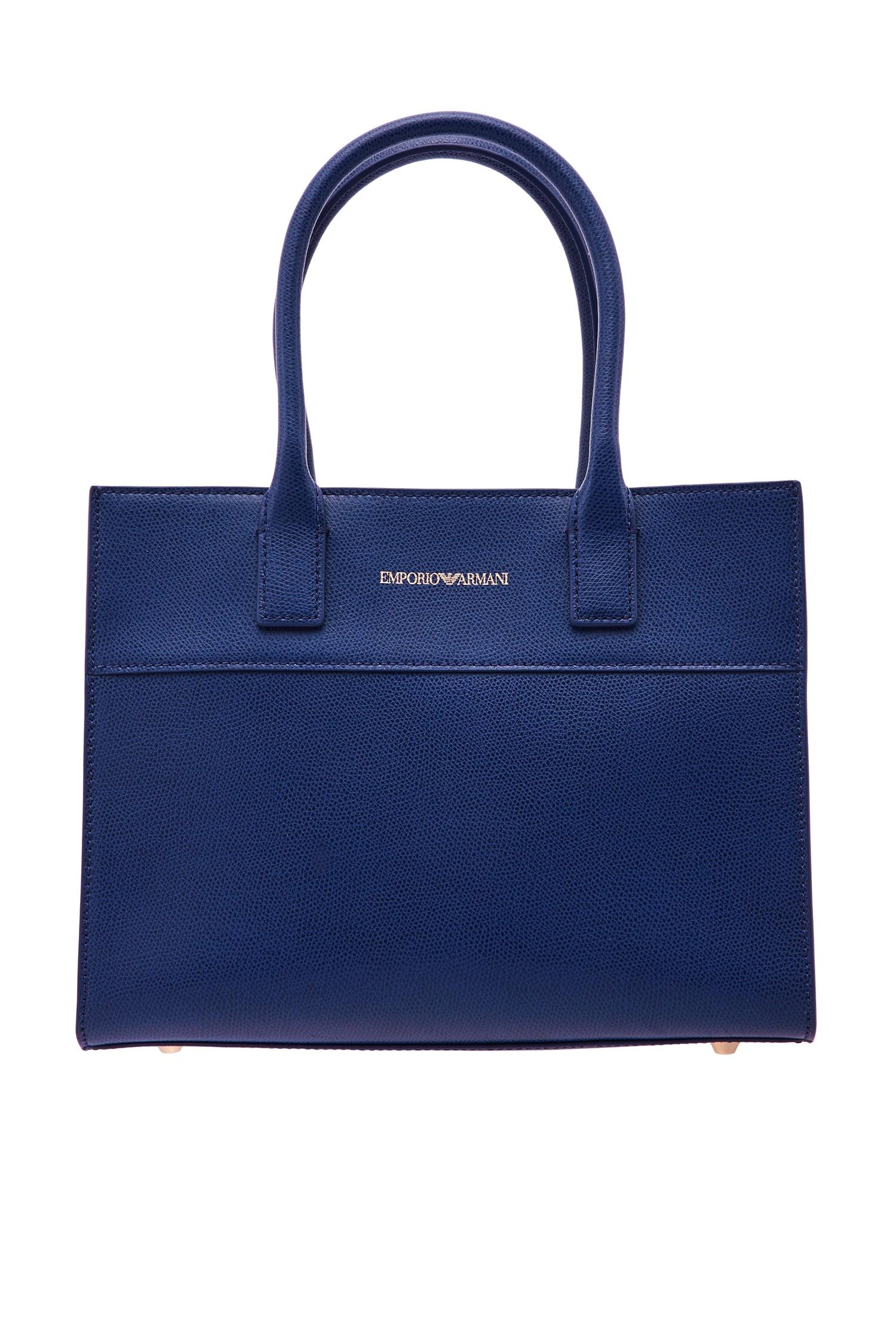 56c2142c9af3 Синяя кожаная сумка Emporio Armani – купить в интернет-магазине в Москве