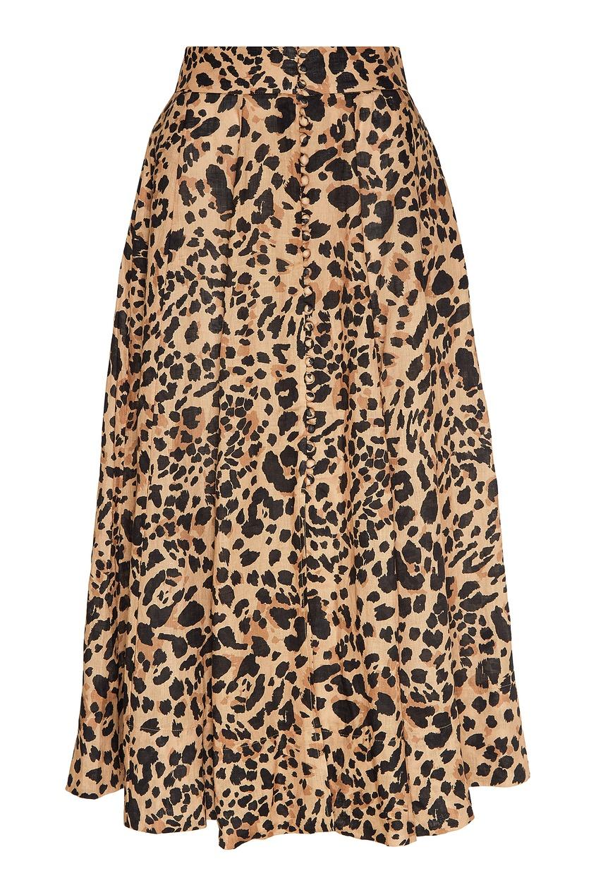 женская юбка zimmermann, леопардовая