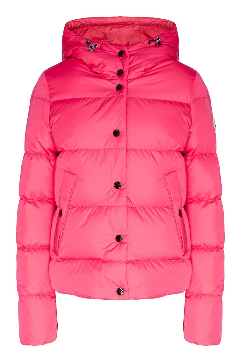 Стеганая куртка с капюшоном цвета фуксии от Moncler