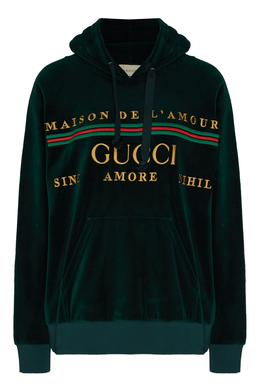 Темно-зеленое бархатное худи с логотипом от Gucci