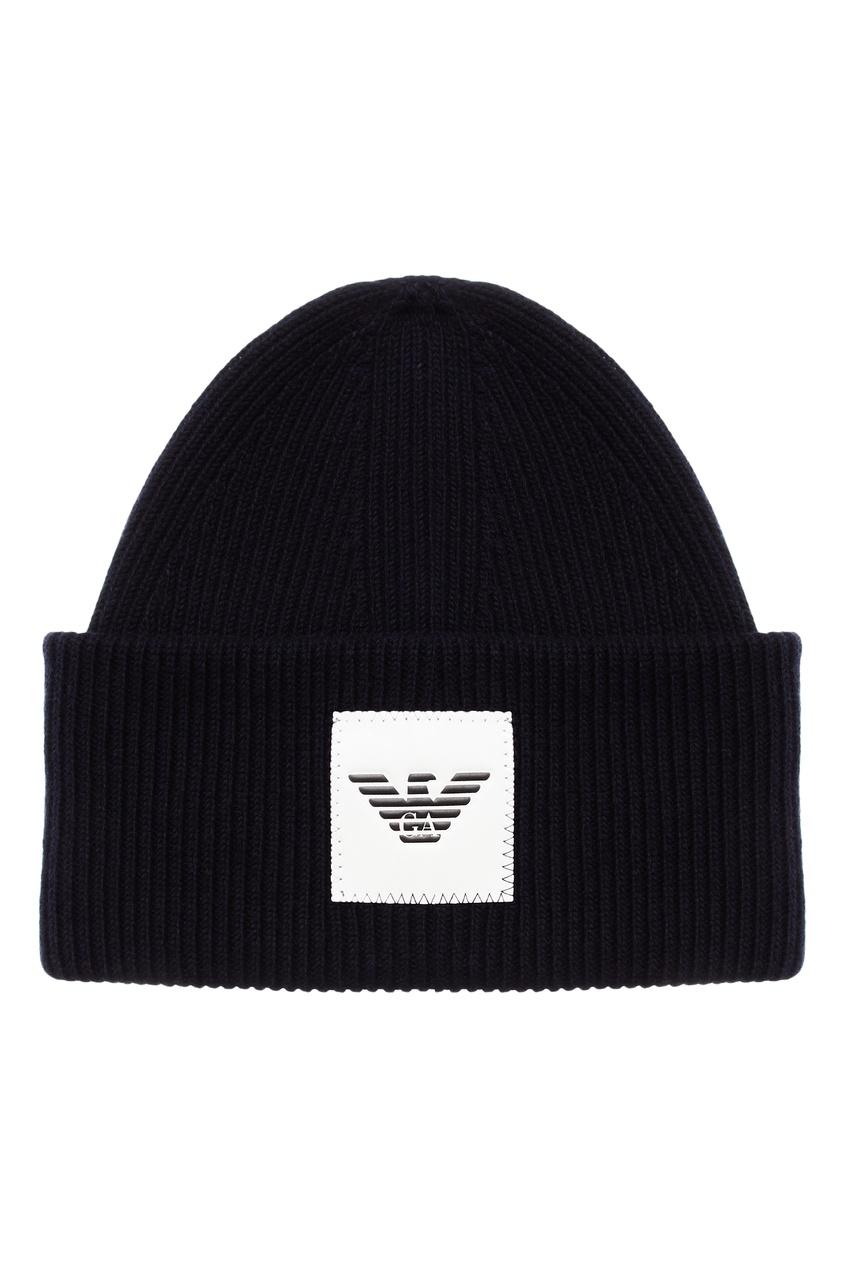 Темно-синяя шапка-бини с логотипом от Emporio Armani