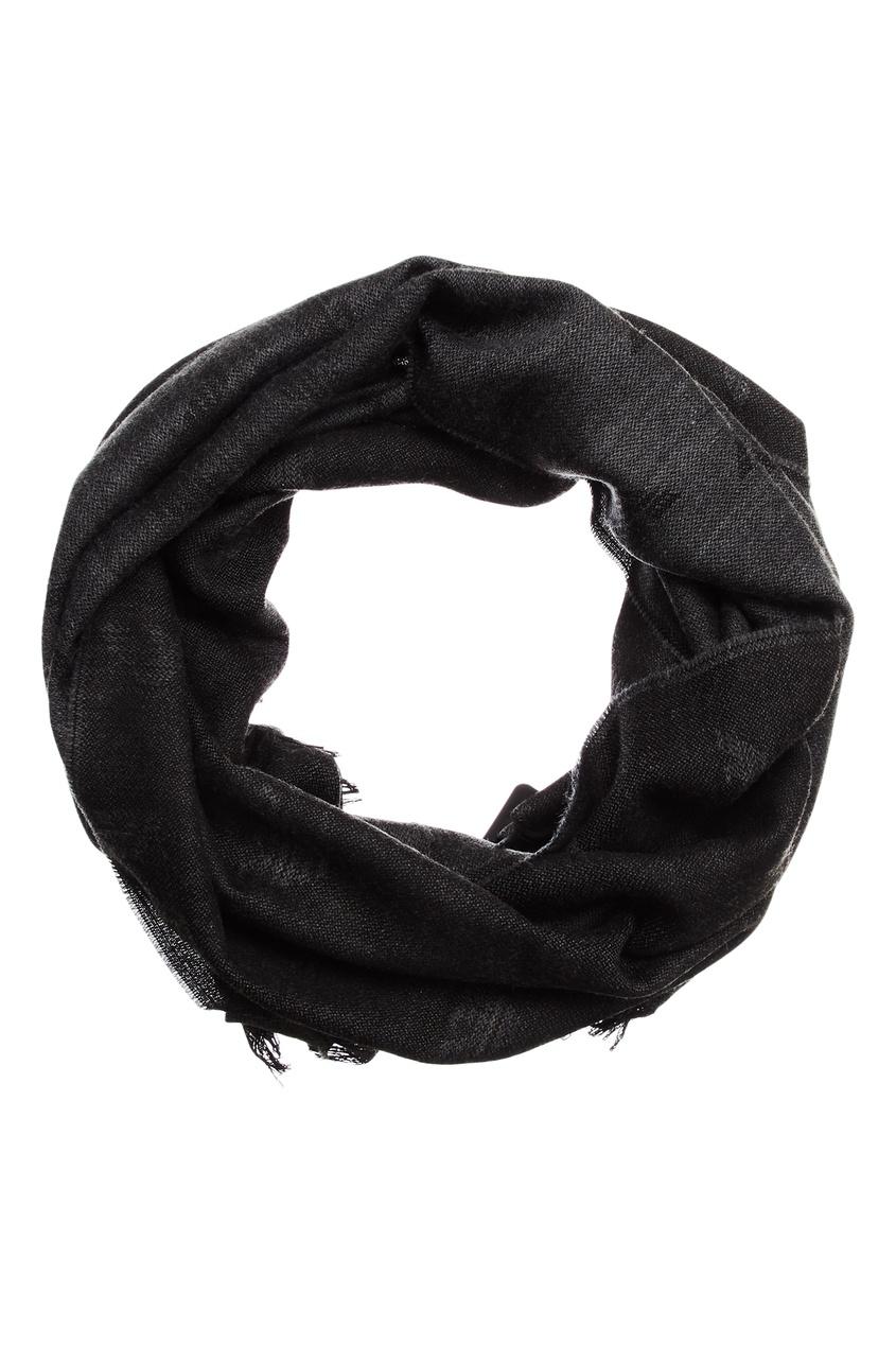 Темно-серый меланжевый шарф с отделкой Emporio Armani