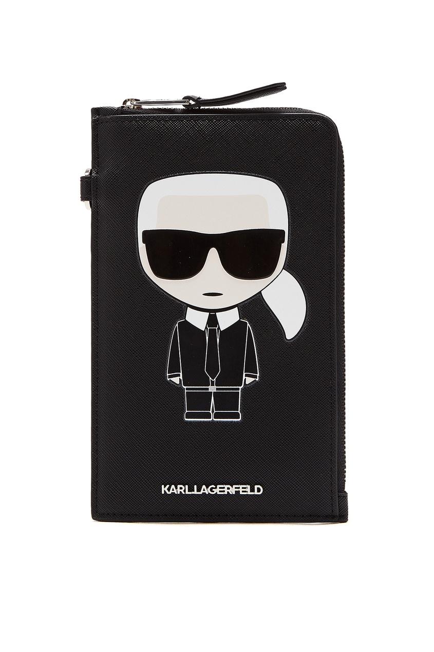 Черная сумка для телефона с логотипами от Karl Lagerfeld