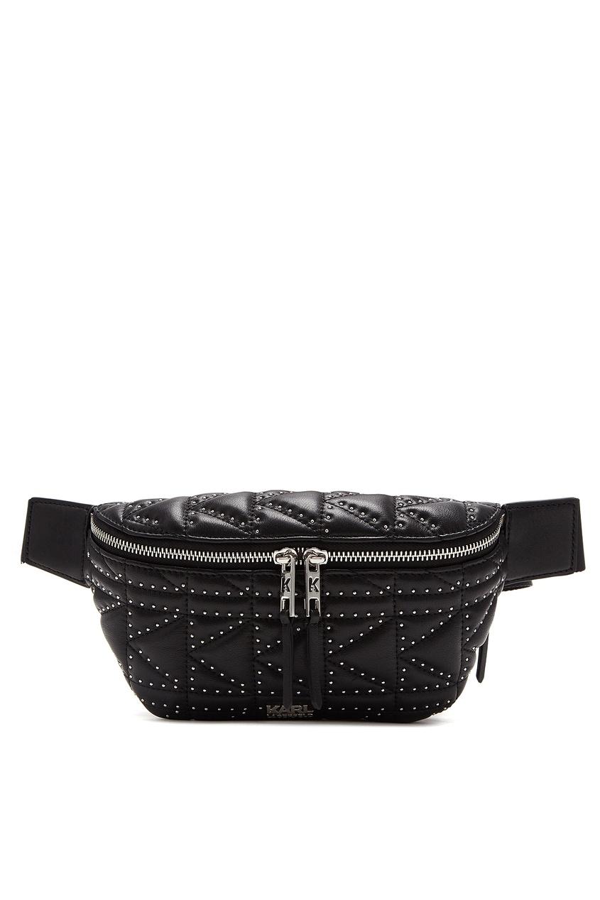 Черная поясная сумка с заклепками от Karl Lagerfeld
