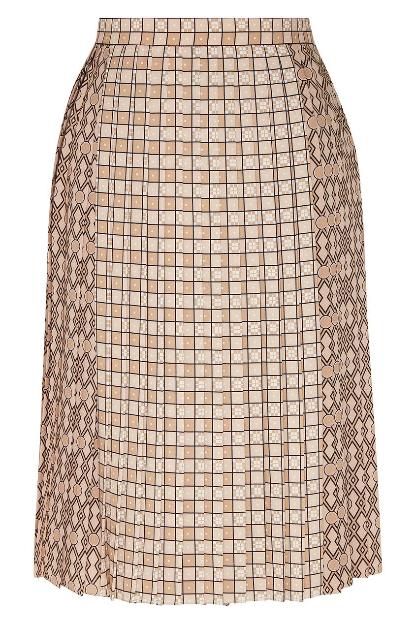 женская юбка в клетку burberry, коричневая