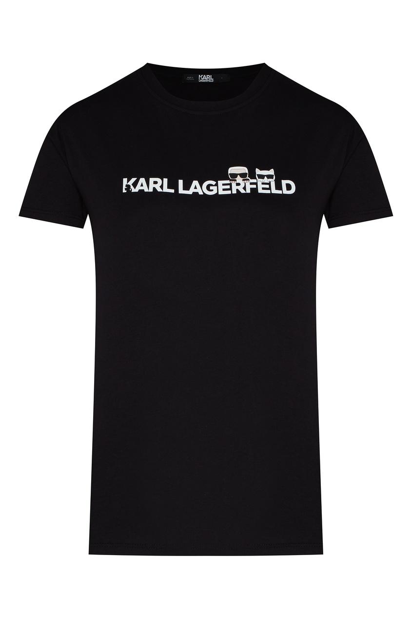 Черная футболка с логотипом K/Ikonik от Karl Lagerfeld