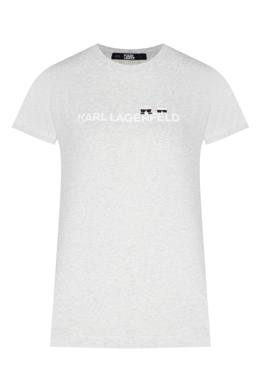 женская футболка с коротким рукавом karl lagerfeld, серая