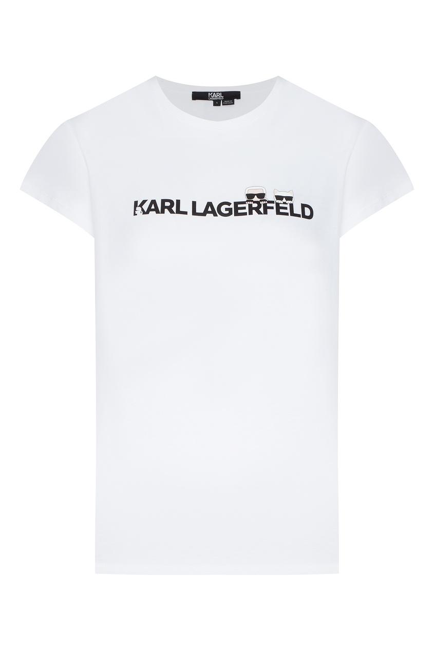 Белая футболка с фирменной символикой от Karl Lagerfeld