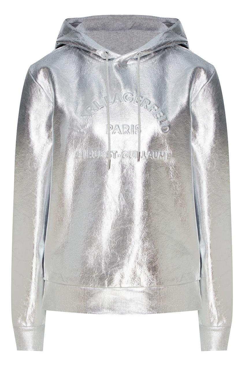 женские худи karl lagerfeld, серебряные