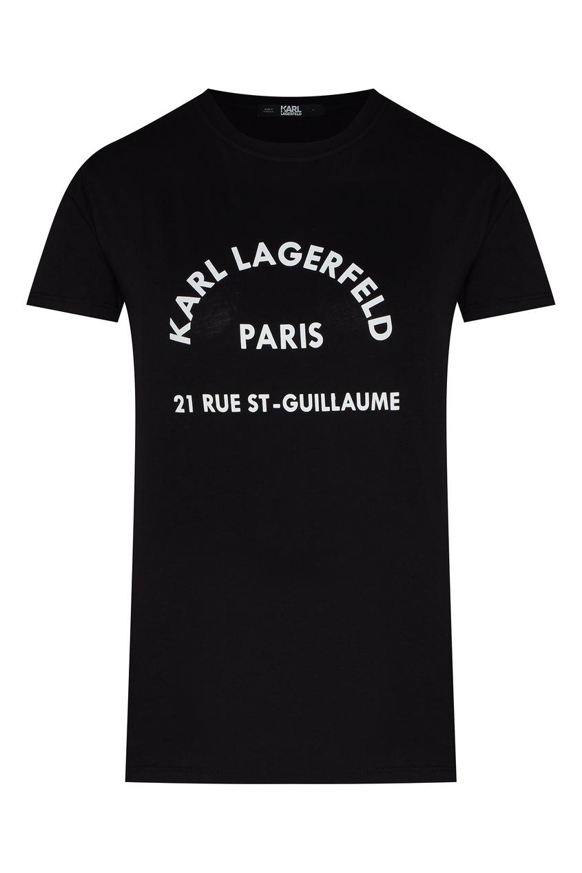 Черная футболка с контрастными надписями от Karl Lagerfeld