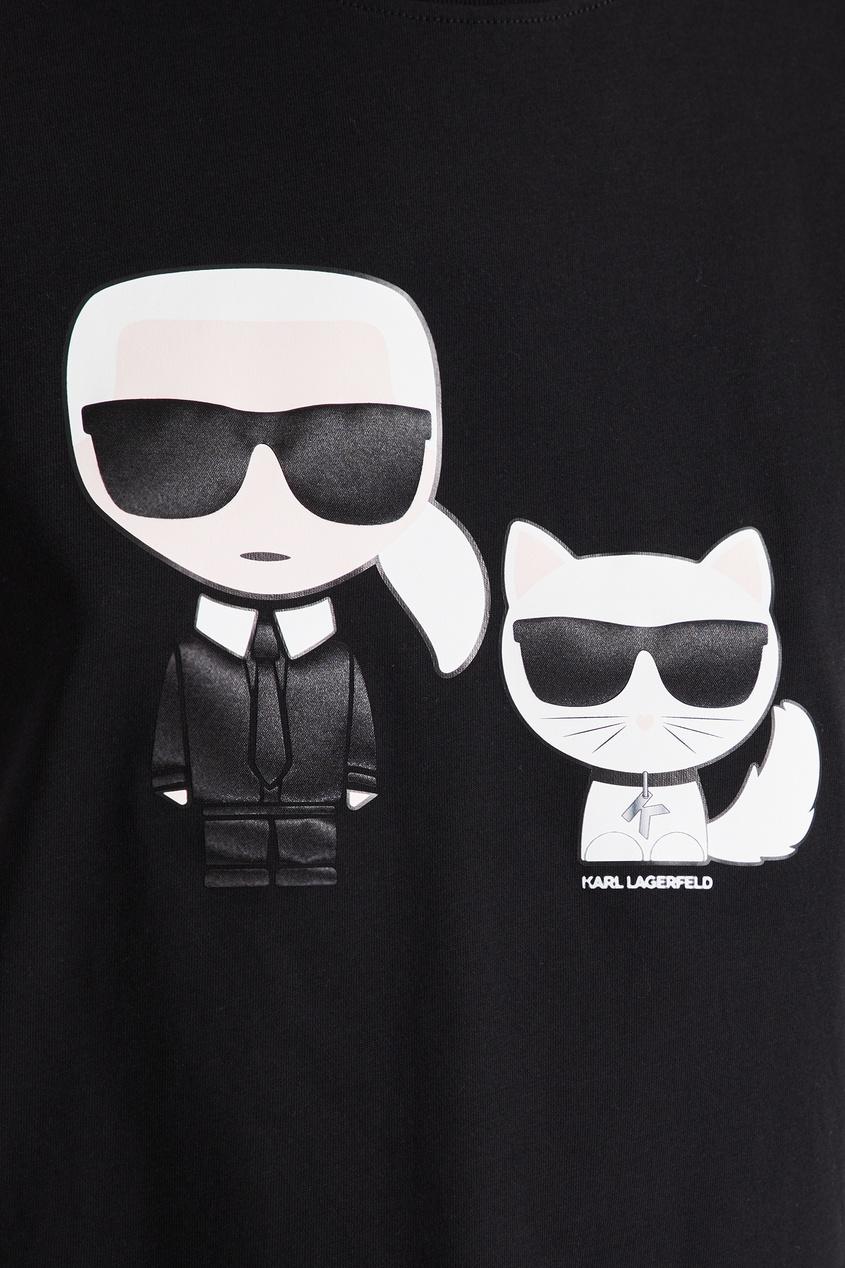 женская футболка с коротким рукавом karl lagerfeld, черная