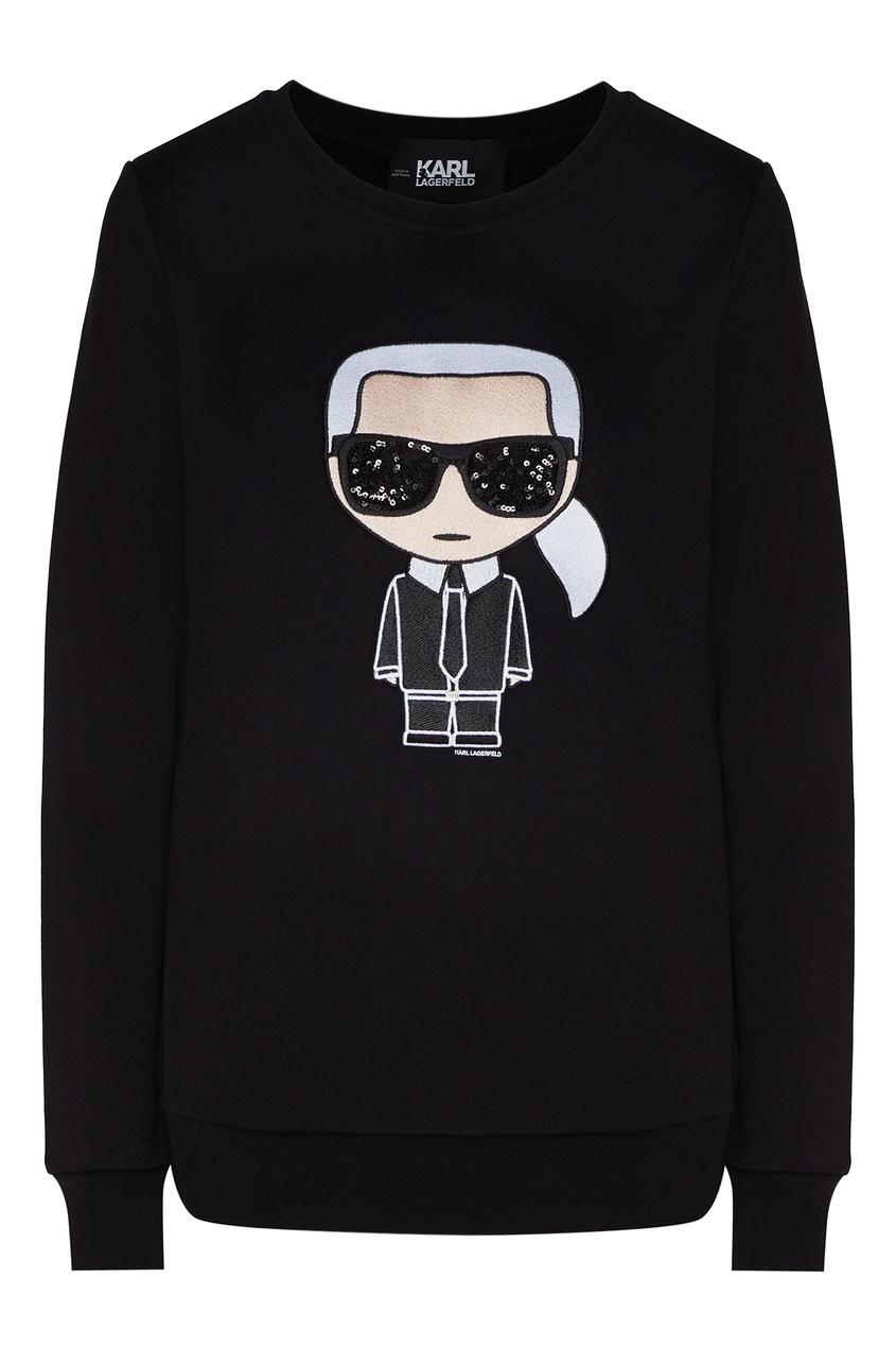 Черный свитшот с символом K/Ikonik от Karl Lagerfeld