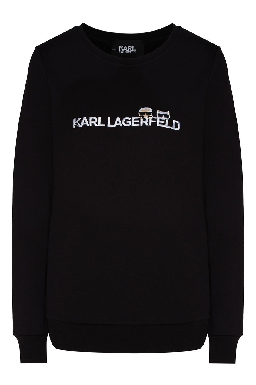 Черный свитшот с фирменной символикой от Karl Lagerfeld