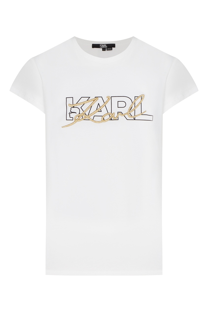 женская футболка с коротким рукавом karl lagerfeld, белая
