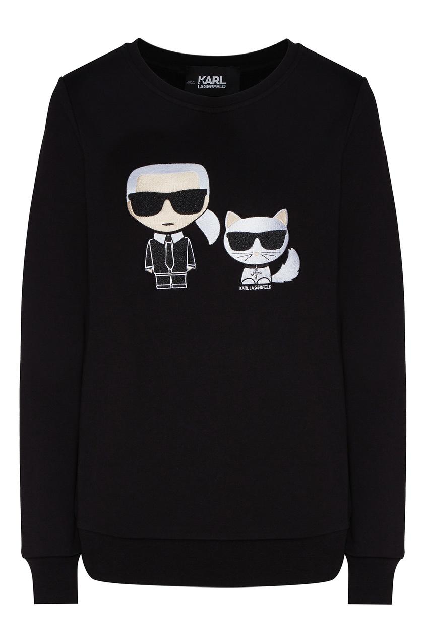 Черный свитшот с символикой K/Ikonik от Karl Lagerfeld