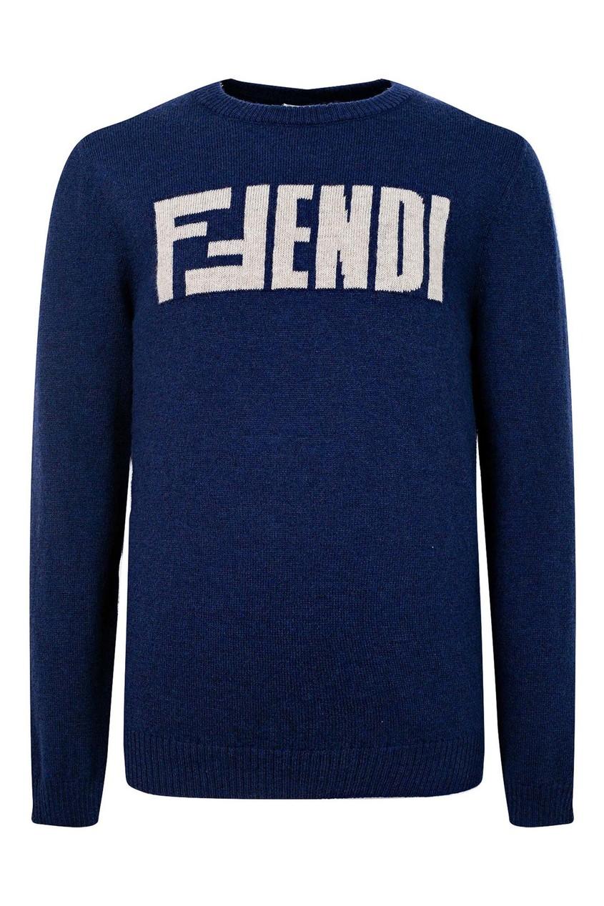 Синий джемпер с надписью от Fendi