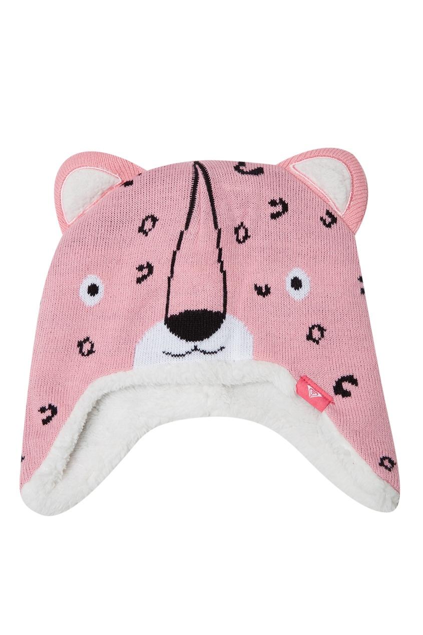 Розовая шапка-ушанка Leopard