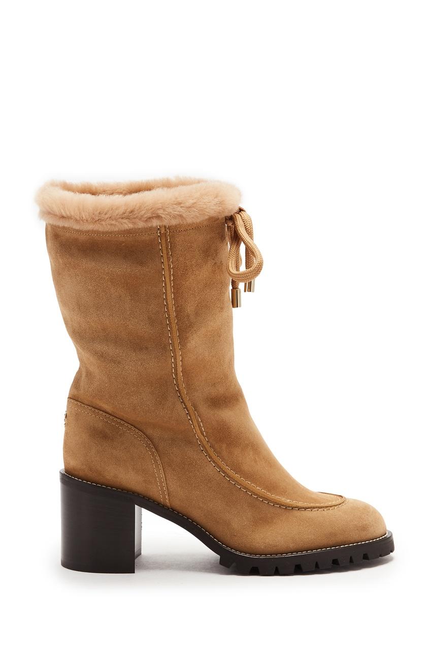 женские полусапожки на каблуке jimmy choo, коричневые