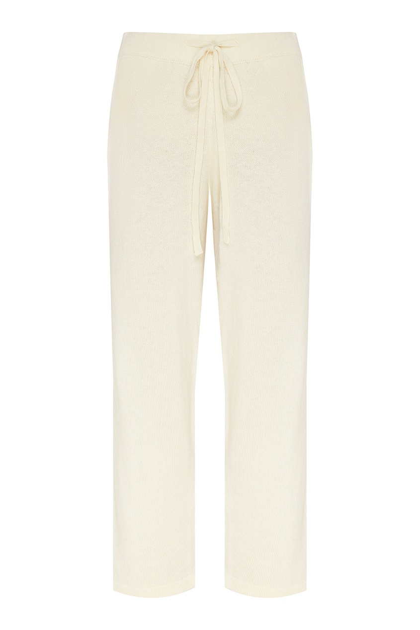 Укороченные брюки молочного цвета, Белый