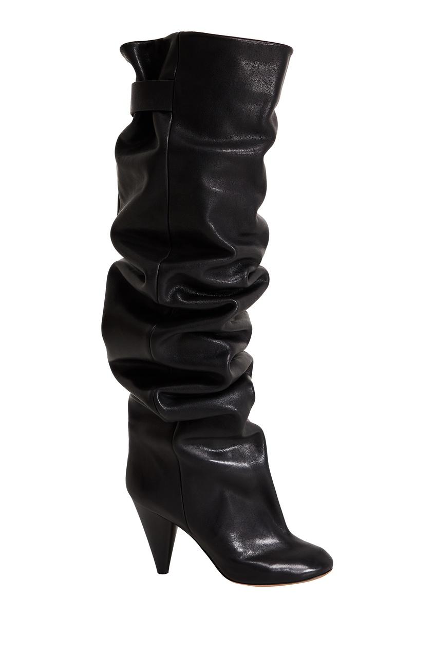 Черные кожаные ботфорты Likita