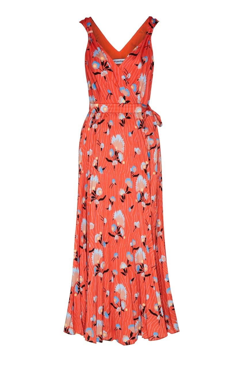 женское платье self-portrait, оранжевое