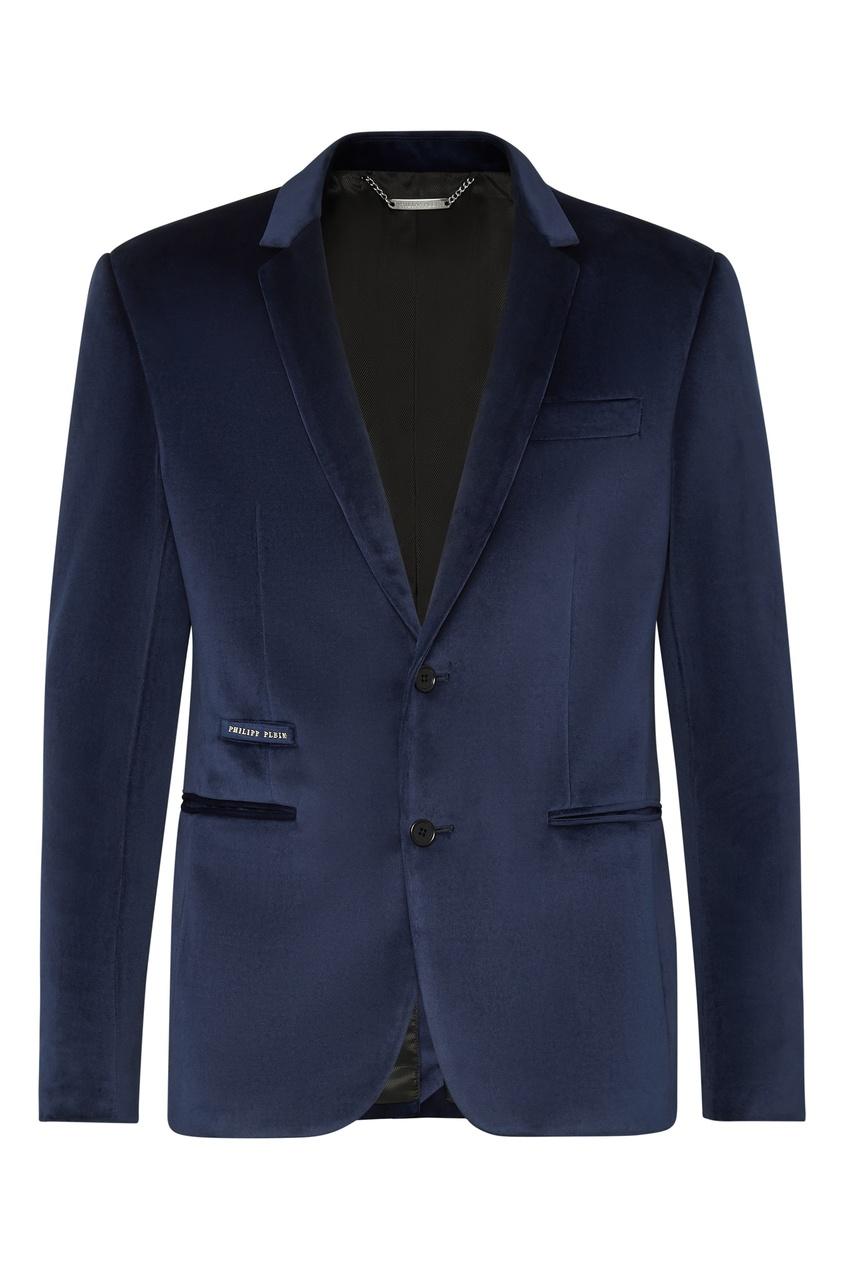Синий пиджак из бархата от Philipp Plein