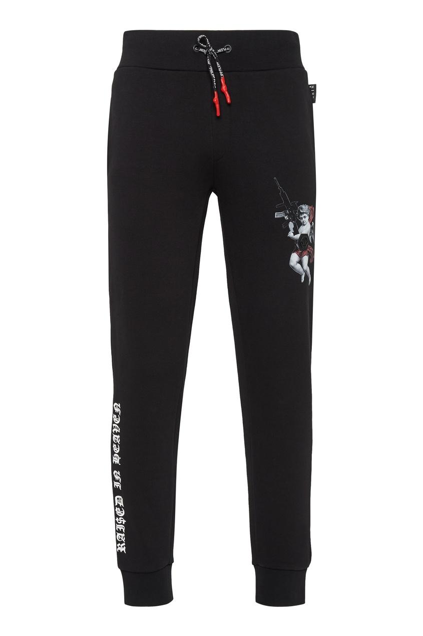 Купить со скидкой Черные спортивные брюки с ангелом