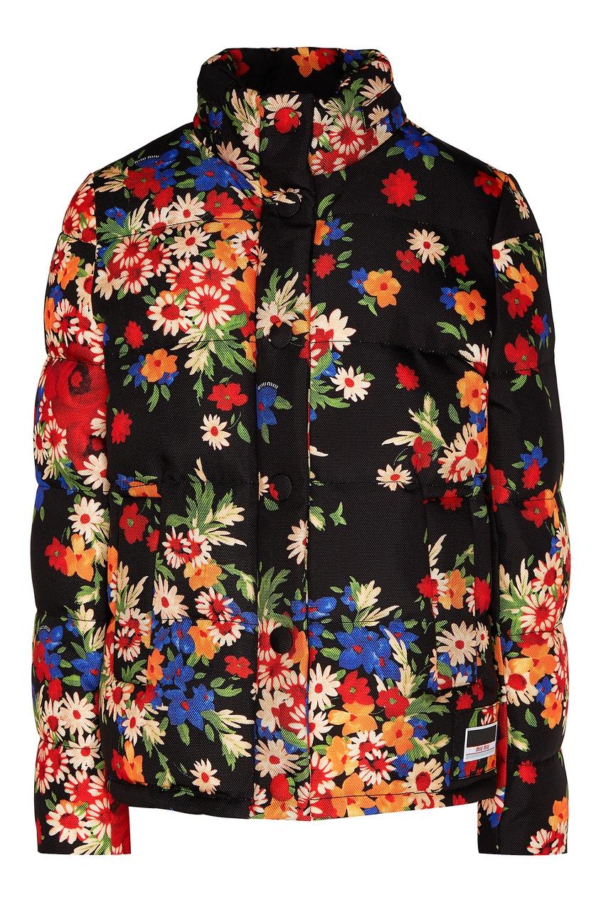 Стеганая куртка с цветочным принтом от Miu Miu