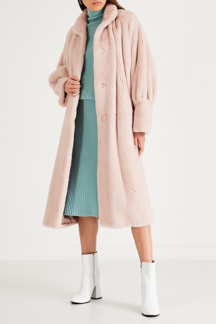 Светло-розовая норковая шуба с воротником-стойкой фото