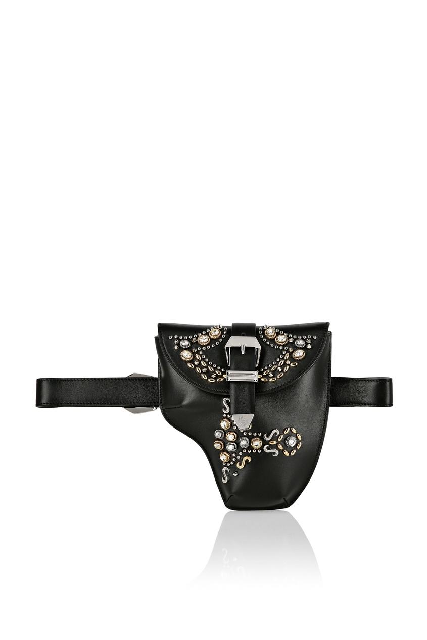 женская поясные сумка philipp plein, черная